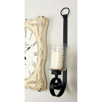 31 in. Wrought Iron Candle Sconce with Glass Hurricane Holder