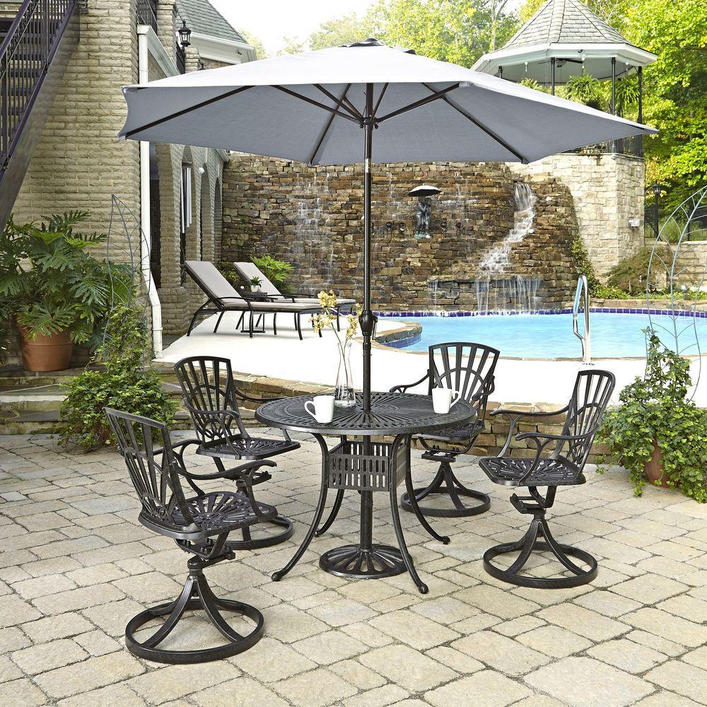 Largo 42 In. 5 Piece Patio Dining Set With Umbrella