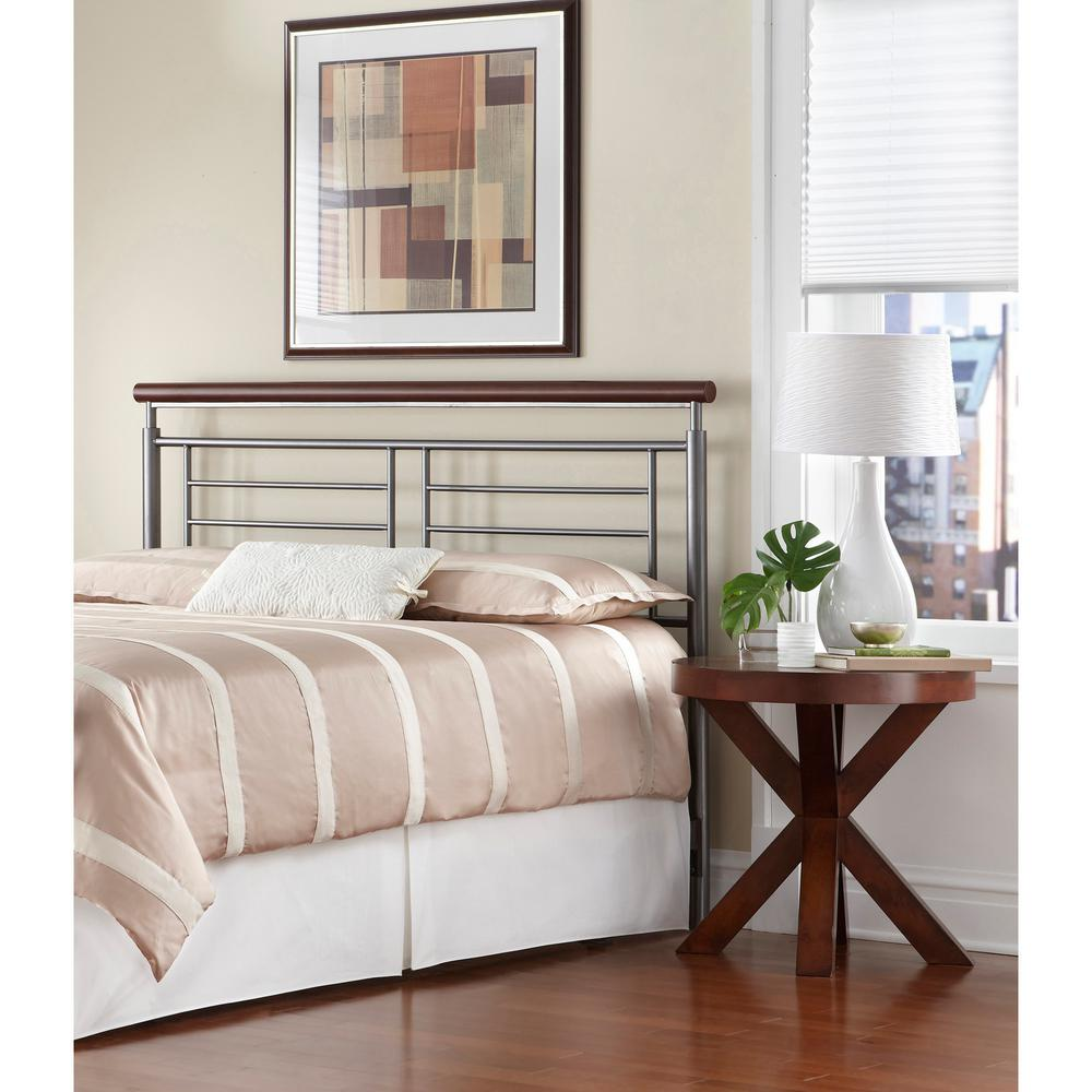 Fashion bed group fontane queen size metal headboard with geometric panel and rounded cherry top rail in silver b12975 the home depot