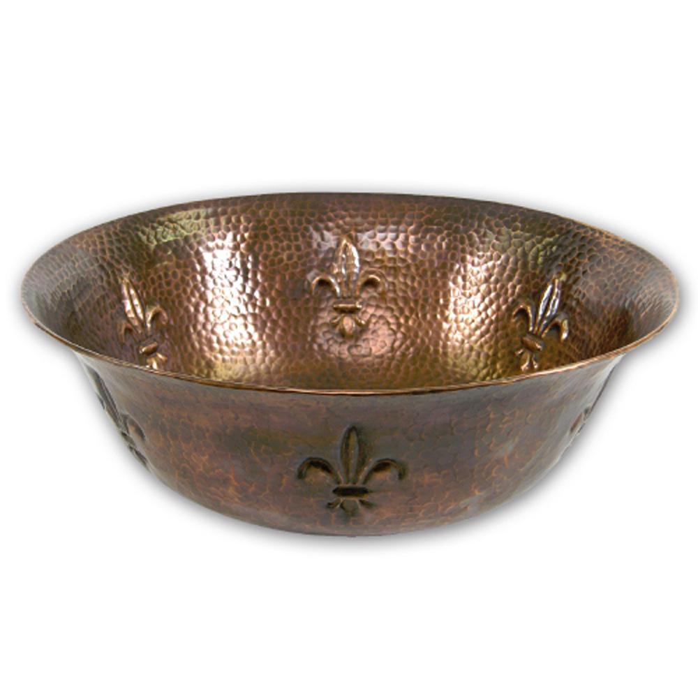 Hammerwerks Series 16 in. Fleur Di Lis Copper Vessel Sink in Antique Copper