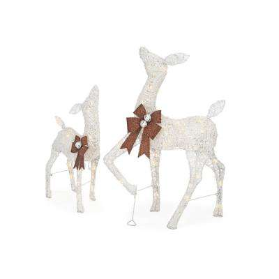 warm white led white pvc deer and doe set with brown bows