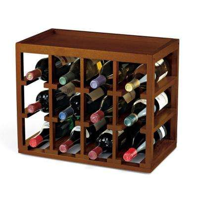 12-Bottle Cube Stack Wine Rack in Walnut Stain