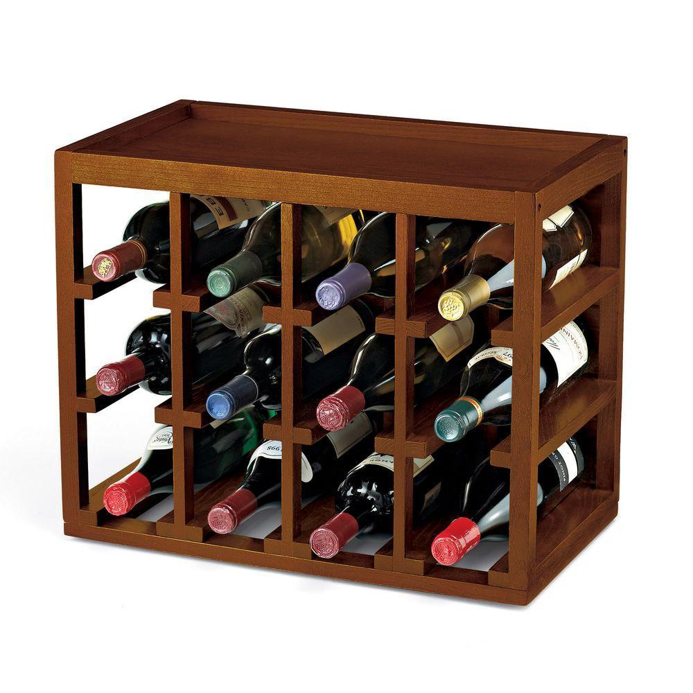 12-Bottle Cube Stack Wine Rack in Walnut Stain
