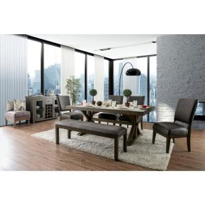 Furniture Of America Winder Gray Padded Dining Bench Idf
