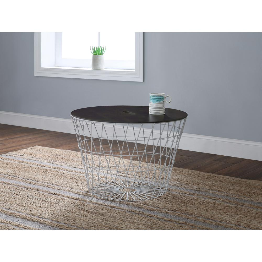 Whalen White Wire with Wood Lid Ottoman