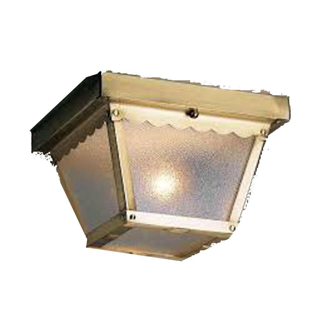 Filament Design Lenor 1-Light Antique Brass Fluorescent Ceiling Semi Flush Mount