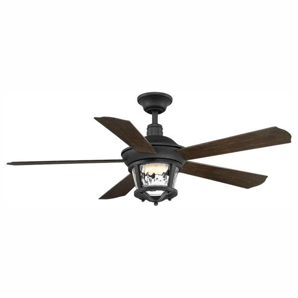 Progress Lighting Smyrna Collection 52 In Led Forged Black Indoor Outdoor Ceiling Fan With Light Kit P2576 8030k The Home Depot