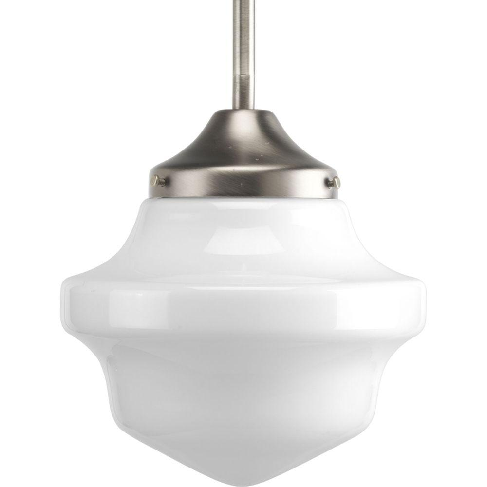 Progress lighting schoolhouse collection 1 light brushed nickel mini progress lighting schoolhouse collection 1 light brushed nickel mini pendant with white opal glass aloadofball Image collections