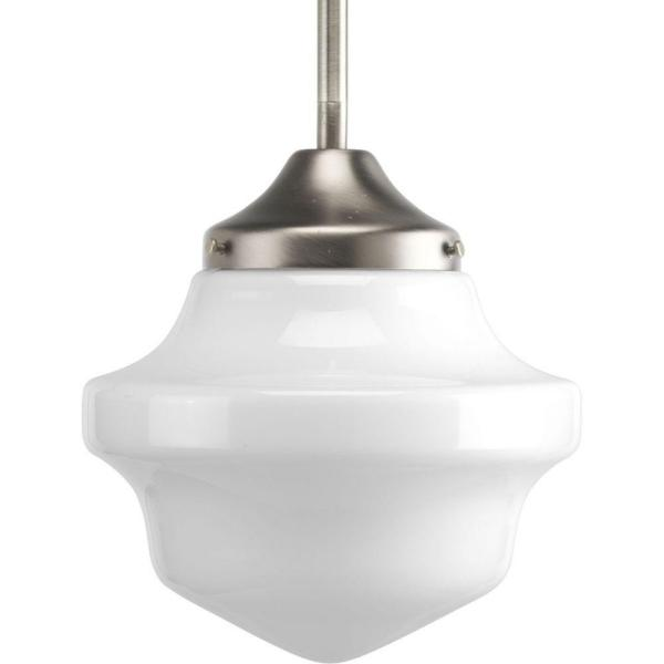 Schoolhouse Collection 1-Light Brushed Nickel Mini Pendant with White Opal Glass