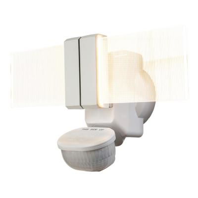 270-Degree White Motion Outdoor Integrated LED Flood Light with Clearview Edgelit Translucent Light Panel Technology