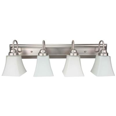 4-Light Brushed Nickel Vanity Light with Square Etched Glass Shade