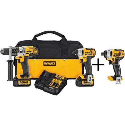 20-Volt MAX Lithium-Ion Cordless Hammer Drill/Impact Driver Combo Kit (2-Tool) with Bonus 1/4 in. Impact Driver