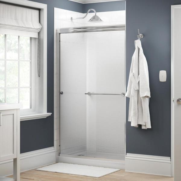Everly 48 in. x 70 in. Traditional Semi-Frameless Sliding Shower Door in Chrome and 1/4 in. (6mm) Droplet Glass