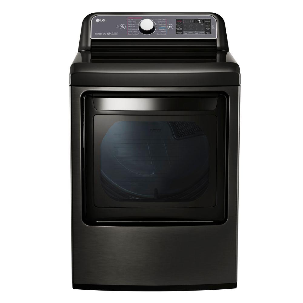 LG 7.3 cu. ft. Gas Dryer with Turbo Steam in Black Stainl...