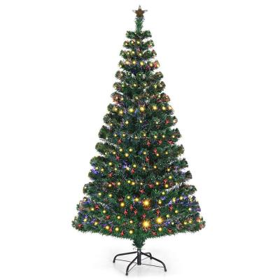 5 ft. Pre-Lit Artificial Christmas Tree Fiber Optic with 180 LED Lights and Top Star