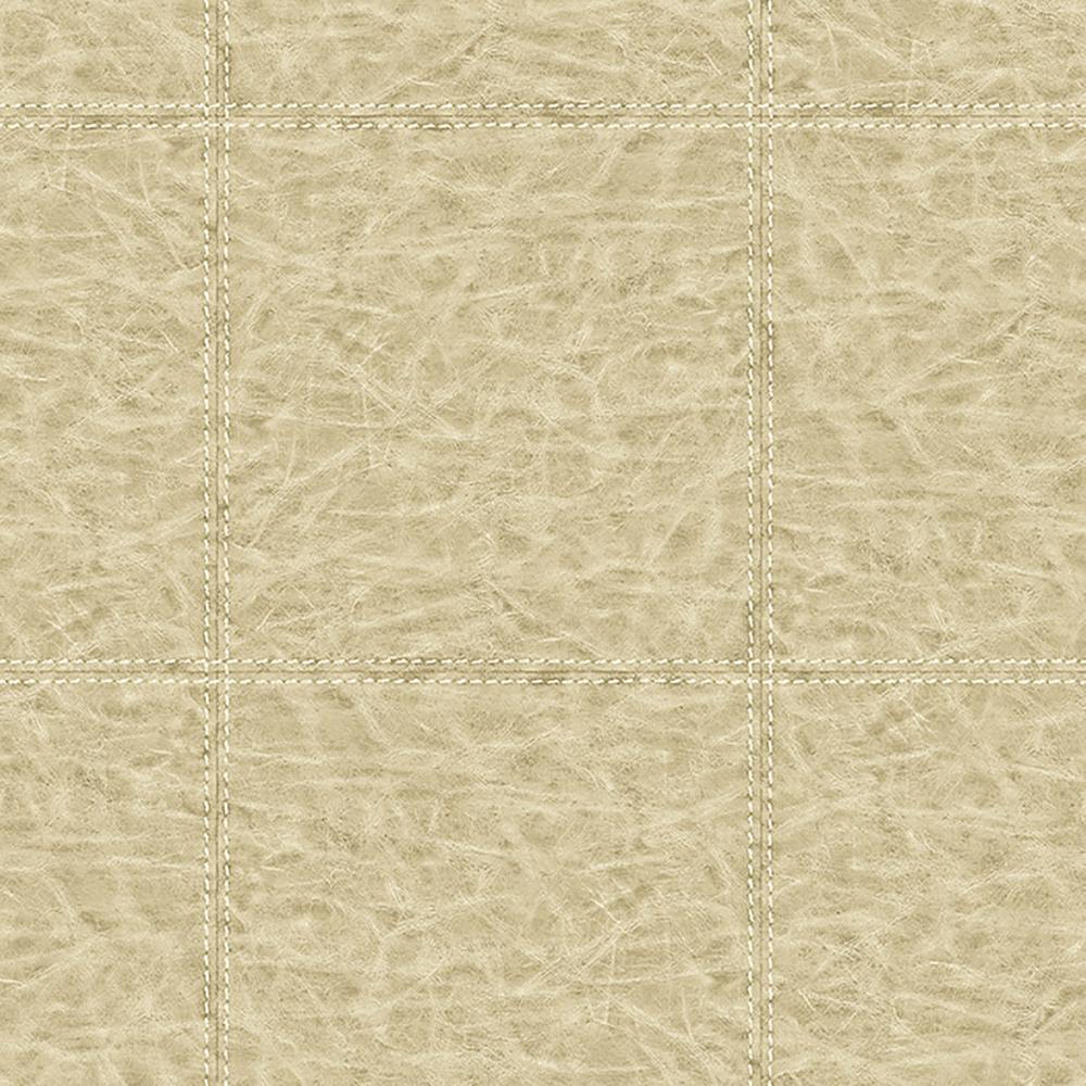 Brewster Study Check Beige Leather Wallpaper Sample ...