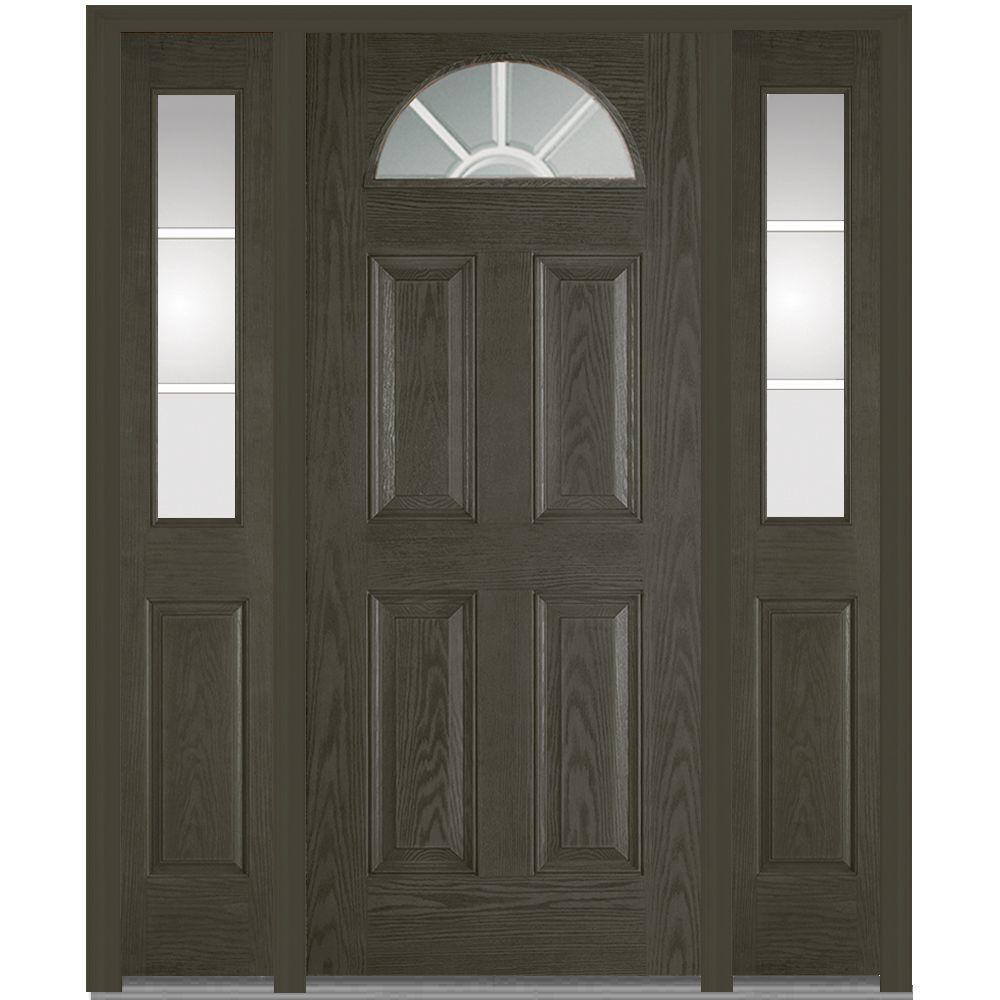 60 in.  x 80 in. GBG Left-Hand 1/4 Lite 4-Panel Classic Stained Fiberglass Oak Prehung Front Door with Sidelites