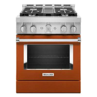 30 in. 4.1 cu. ft. Smart Commercial-Style Gas Range with Self-Cleaning and True Convection in Scorched Orange