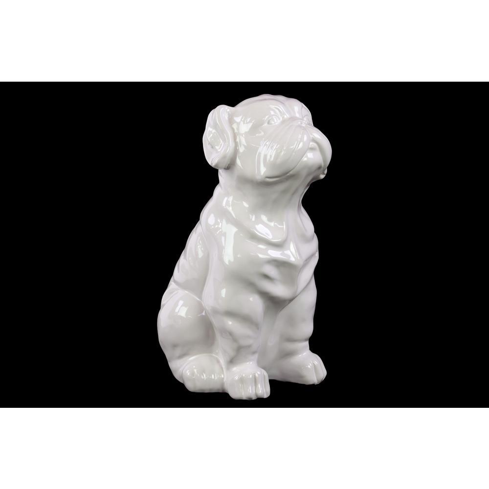 13.25 in. H Dog Decorative Figurine in White Gloss Finish