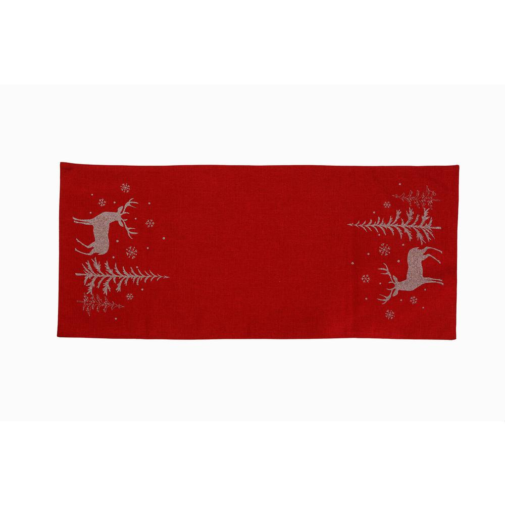 Christmas Table Runner.Xia Home Fashions 0 1 In H X 16 In W X 36 In D Deer In Snowing Forest Double Layer Christmas Table Runner In Red