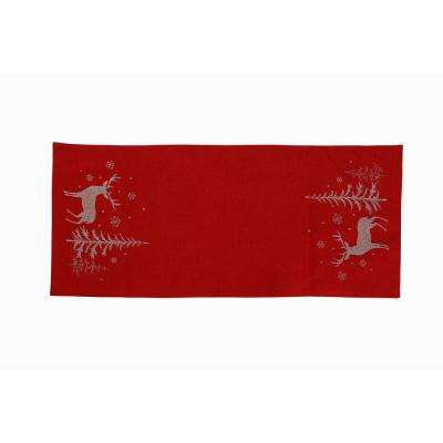 0.1 in. H x 16 in. W x 36 in. D Deer In Snowing Forest Double Layer Christmas Table Runner in Red