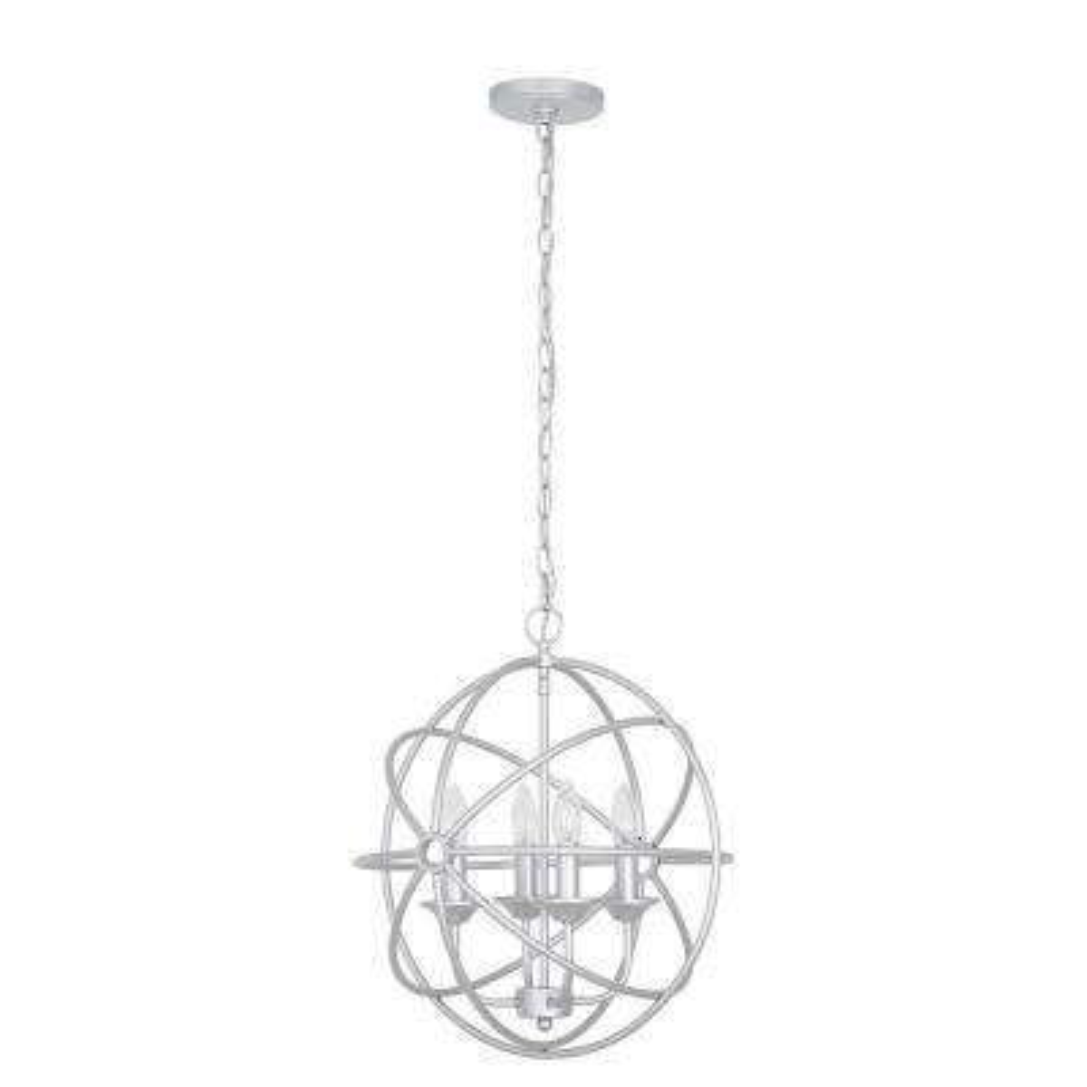 4-Light Silver Modern Pendant and LED Bulb
