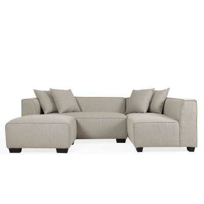 Phoenix Barley Tan Linen Sectional Sofa with Ottoman