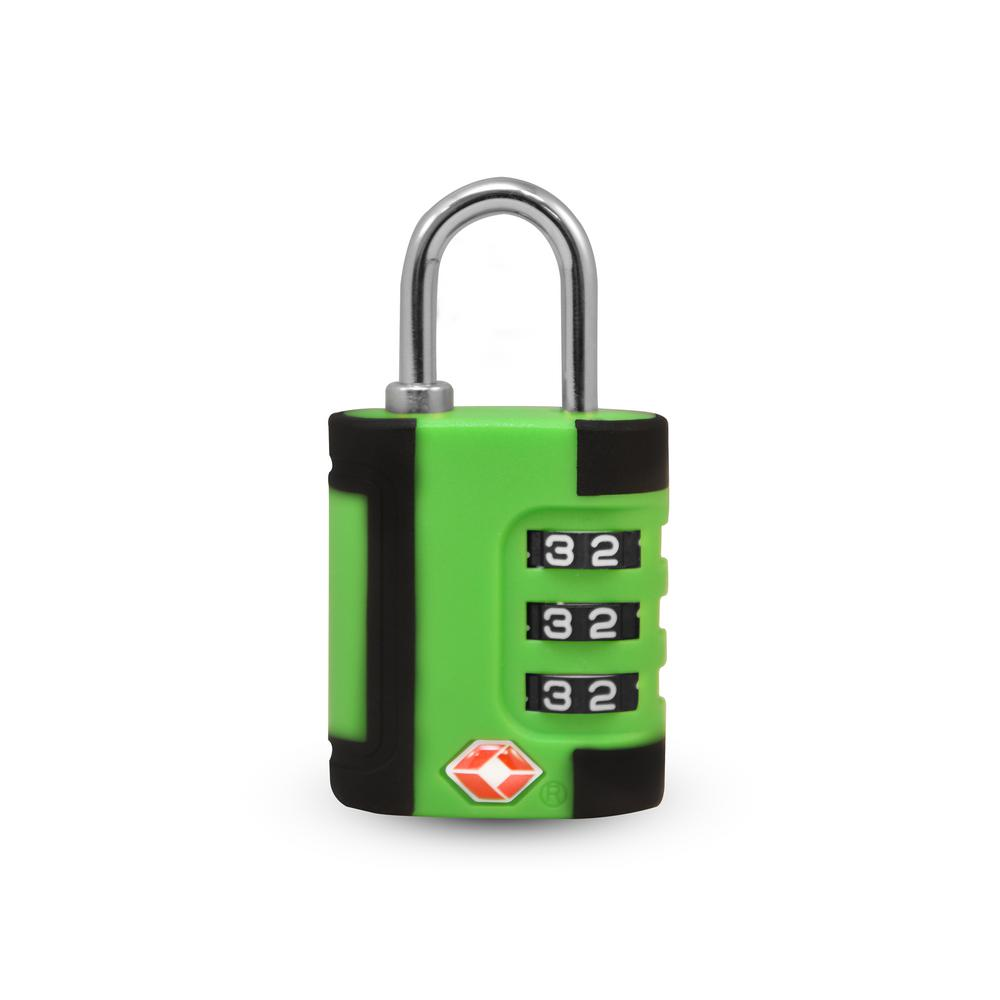 3 Digit Combination Padlock 2 Tone in Green/Black - TSA Approved