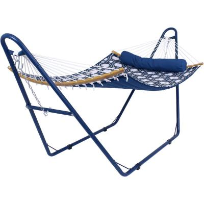 11 ft. L Curved Spreader Bar Hammock Bed with Blue Stand - Navy and Gray Octagon