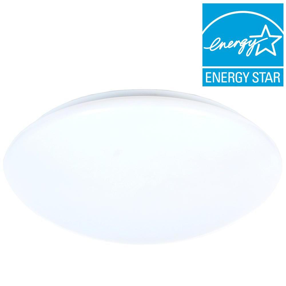 1-Light White LED Round Puff Flushmount