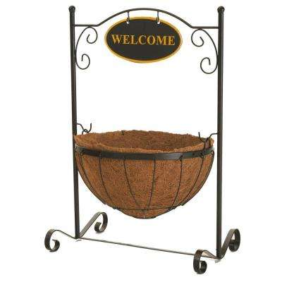 Welcome Plant Stand with 14 in. Round Coco Liner