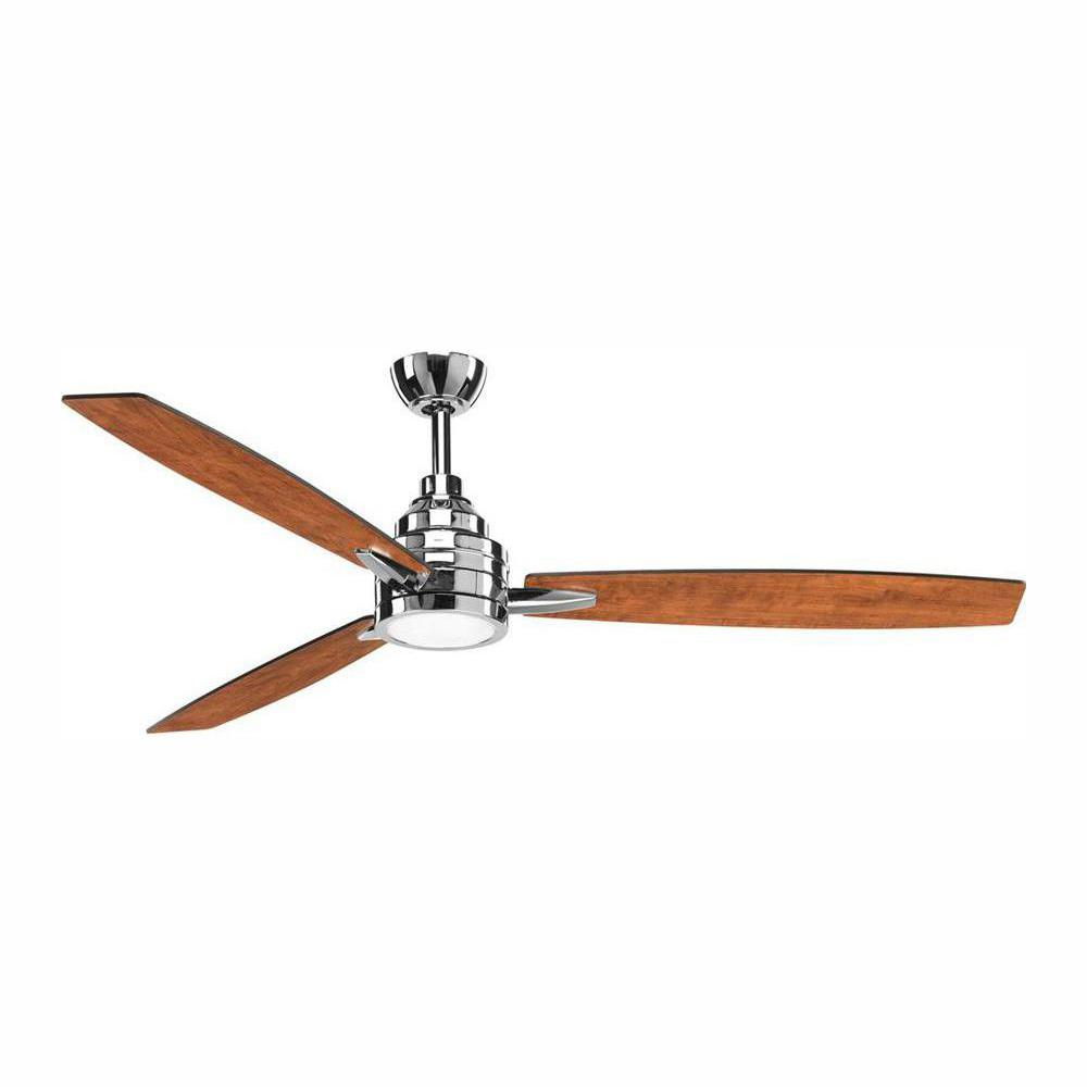 Progress Lighting Gaze Collection 60 in. LED Indoor Polished Chrome Modern Ceiling Fan with Light Kit and Remote