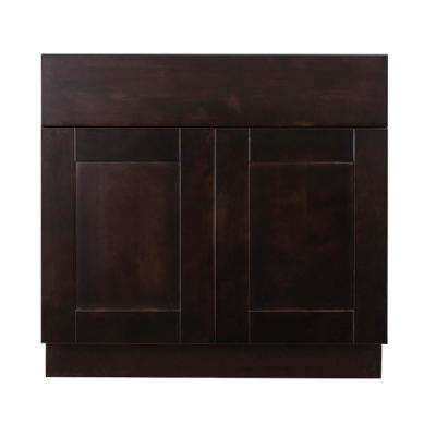 Anchester Assembled 36 in. x 34.5 in. x 24 in. Sink Base Cabinet with 2 Doors in Dark Espresso