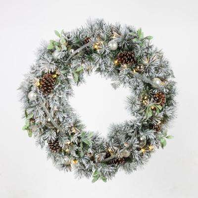 36 in. Pre-Lit LED Artificial Christmas Flocked Wreath with Ornaments and Mistletoe