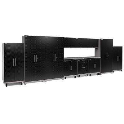 Performance Plus Diamond Plate 2.0 80 in. H x 253 in. W x 24 in. D Garage Cabinet Set in Black (12-Piece)