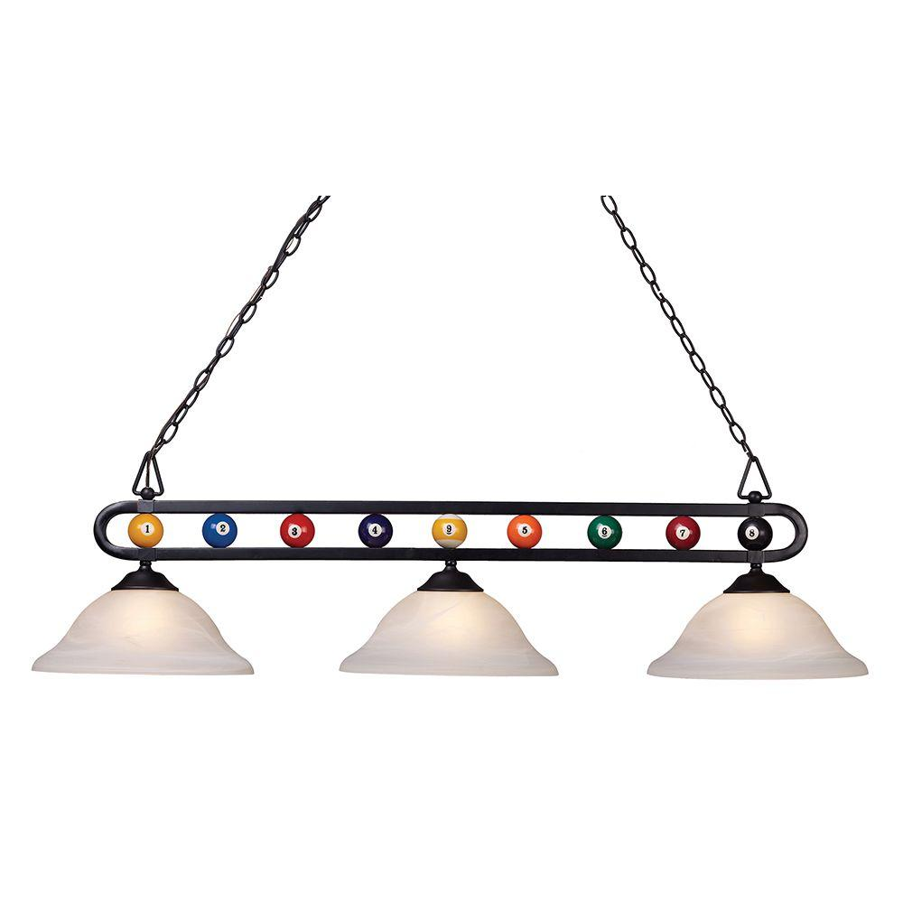 Pool table lights lighting the home depot chalkie 3 light matte black billiard themed kitchen island light with white shade arubaitofo Choice Image