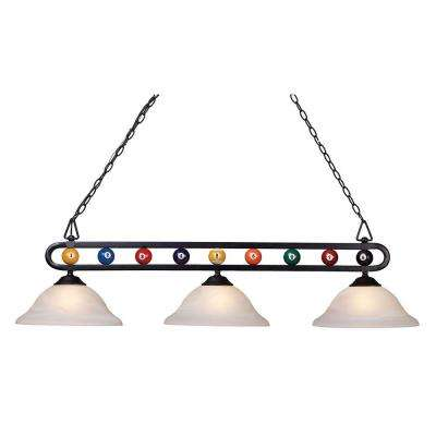 Attractive Chalkie 3 Light Matte Black Billiard Themed Kitchen Island Light With White  Shade