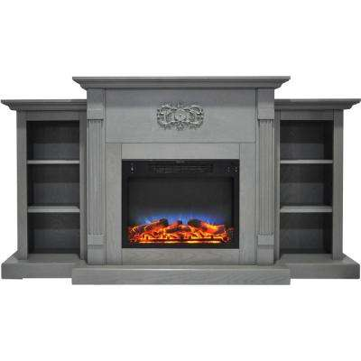 Sanoma 72 in. Electric Fireplace in Gray with Built-in Bookshelves and a Multi-Color LED Flame Display