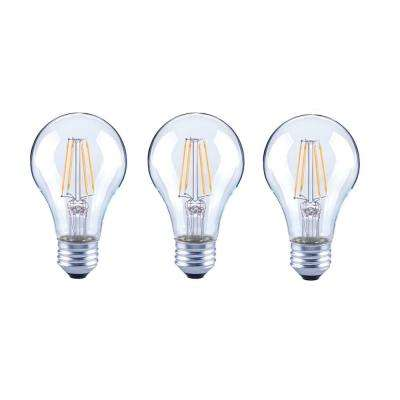 40-Watt Equivalent A19 General Purpose Dimmable Clear Glass Filament LED Light Bulb Daylight (3-Pack)