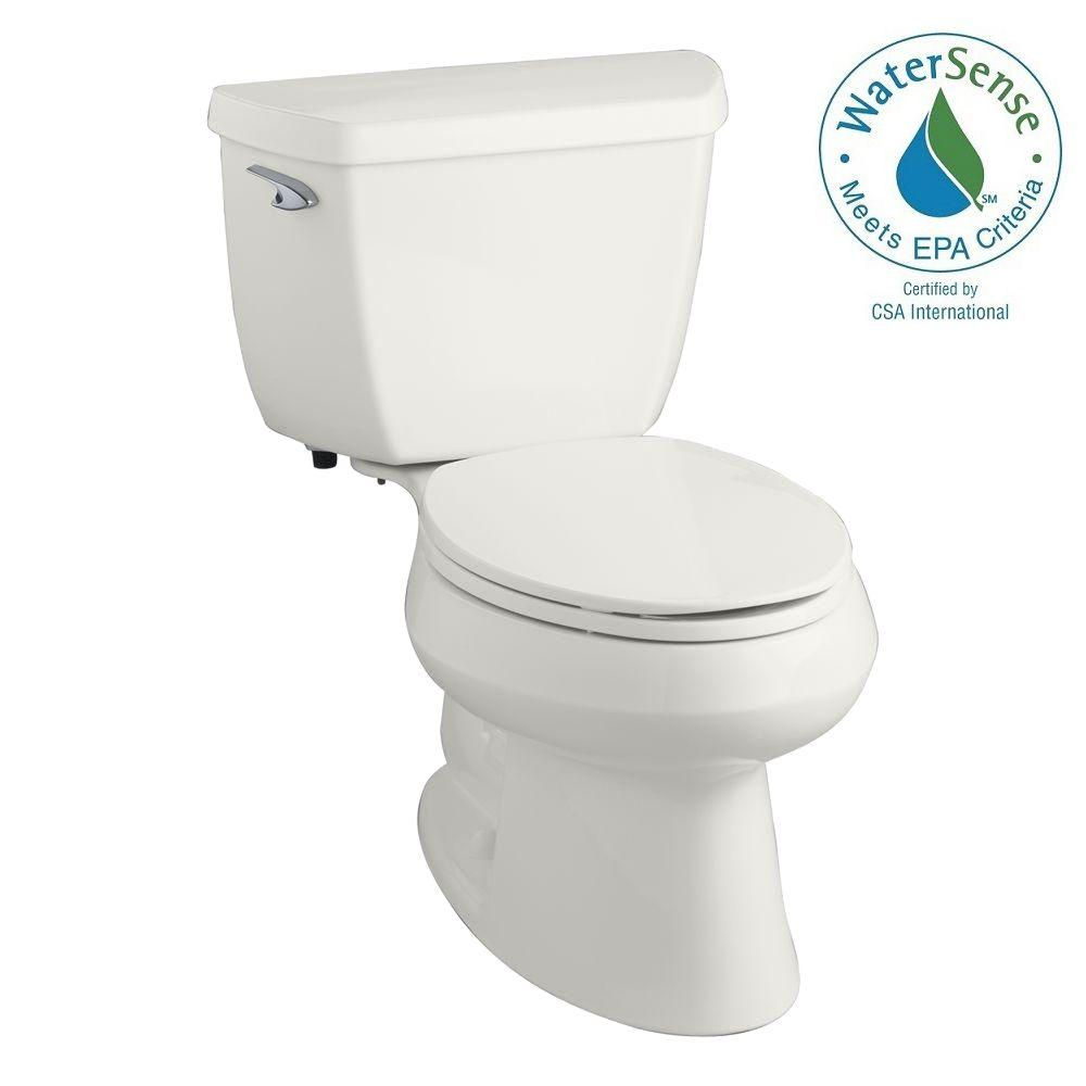 KOHLER Wellworth Classic 2-piece 1.28 GPF Single Flush Elongated Toilet in White