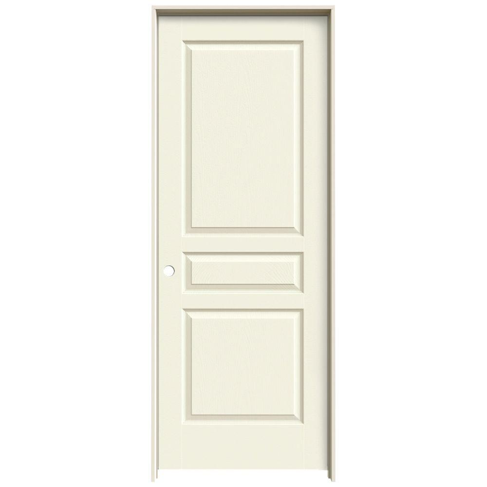 JELD-WEN 24 in. x 80 in. Avalon Vanilla Painted Right-Hand Textured Hollow Core Molded Composite MDF Single Prehung Interior Door