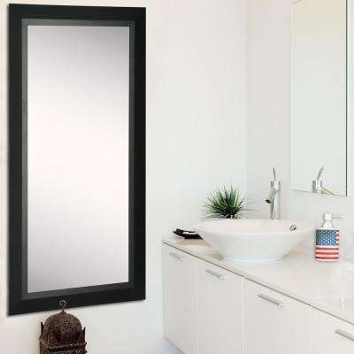 25.5 in. x 63.5 in. Attractive Matte Black Rounded Beveled Pub Full Body Mirror