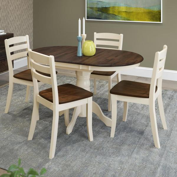 Dark Wood Dining Set: CorLiving Dillon 5-Piece Extendable Dark Brown And Cream Solid Wood Dining Set DSH-470-Z1