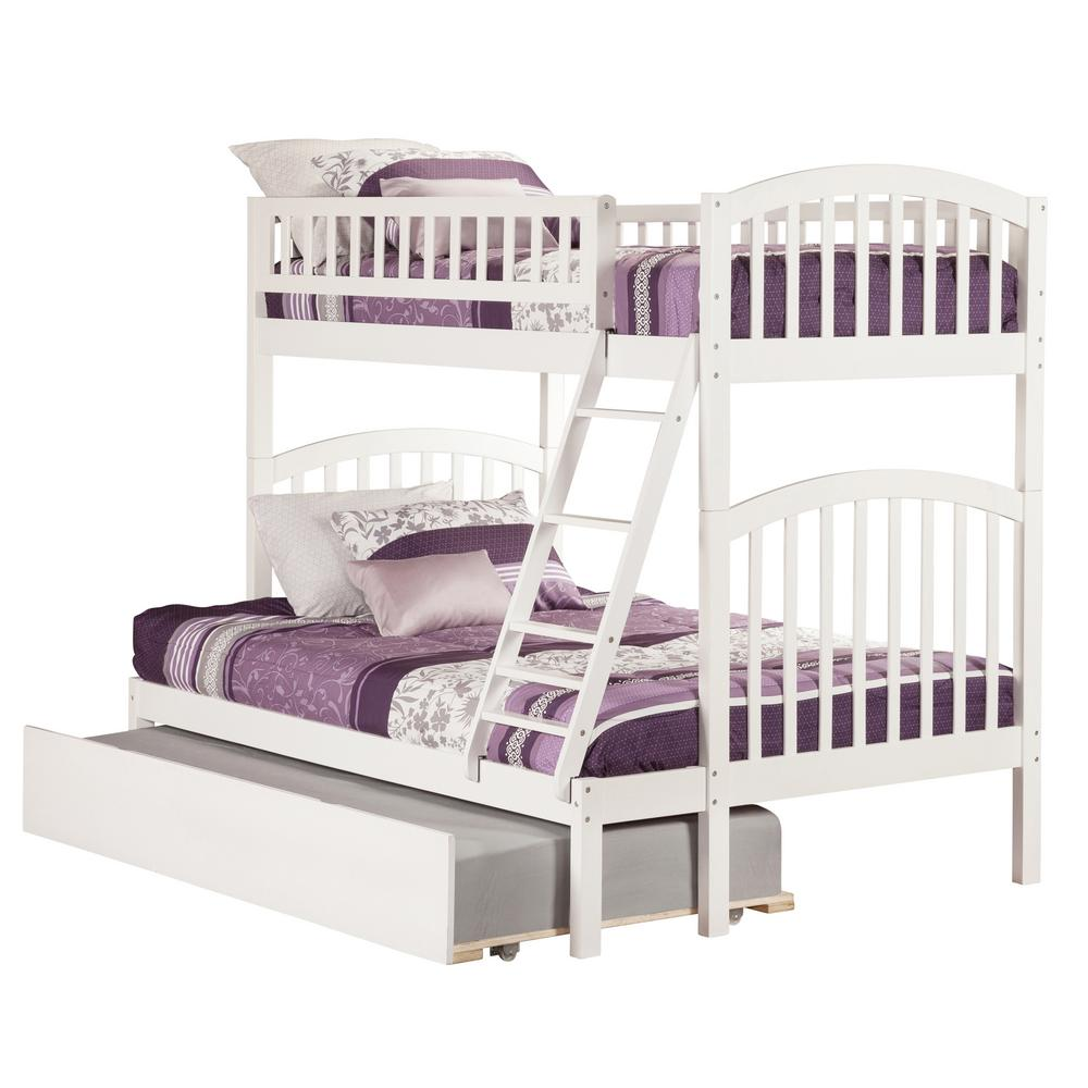 Atlantic Furniture Richland White Twin Over Full Bunk Bed With Twin