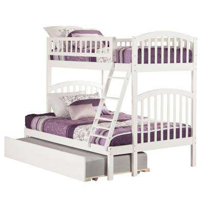 Richland White Twin Over Full Bunk Bed with Twin Urban Trundle Bed