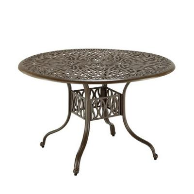 Capri 48 in. Taupe Tan Brown Round Cast Aluminum Outdoor Dining Table