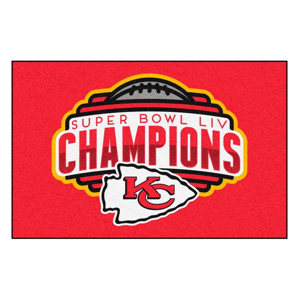 "NFL - Kansas City Chiefs Red Super Bowl LIV Champions Accent Rug 19"" x 30"""