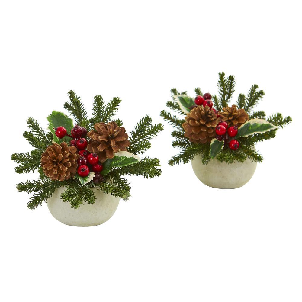 Indoor Christmas Inspired Artificial Arrangement in Ceramic Vase (Set of 2)