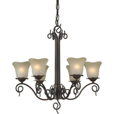 6-Light Antique Bronze Chandelier with Umber Glass Shade