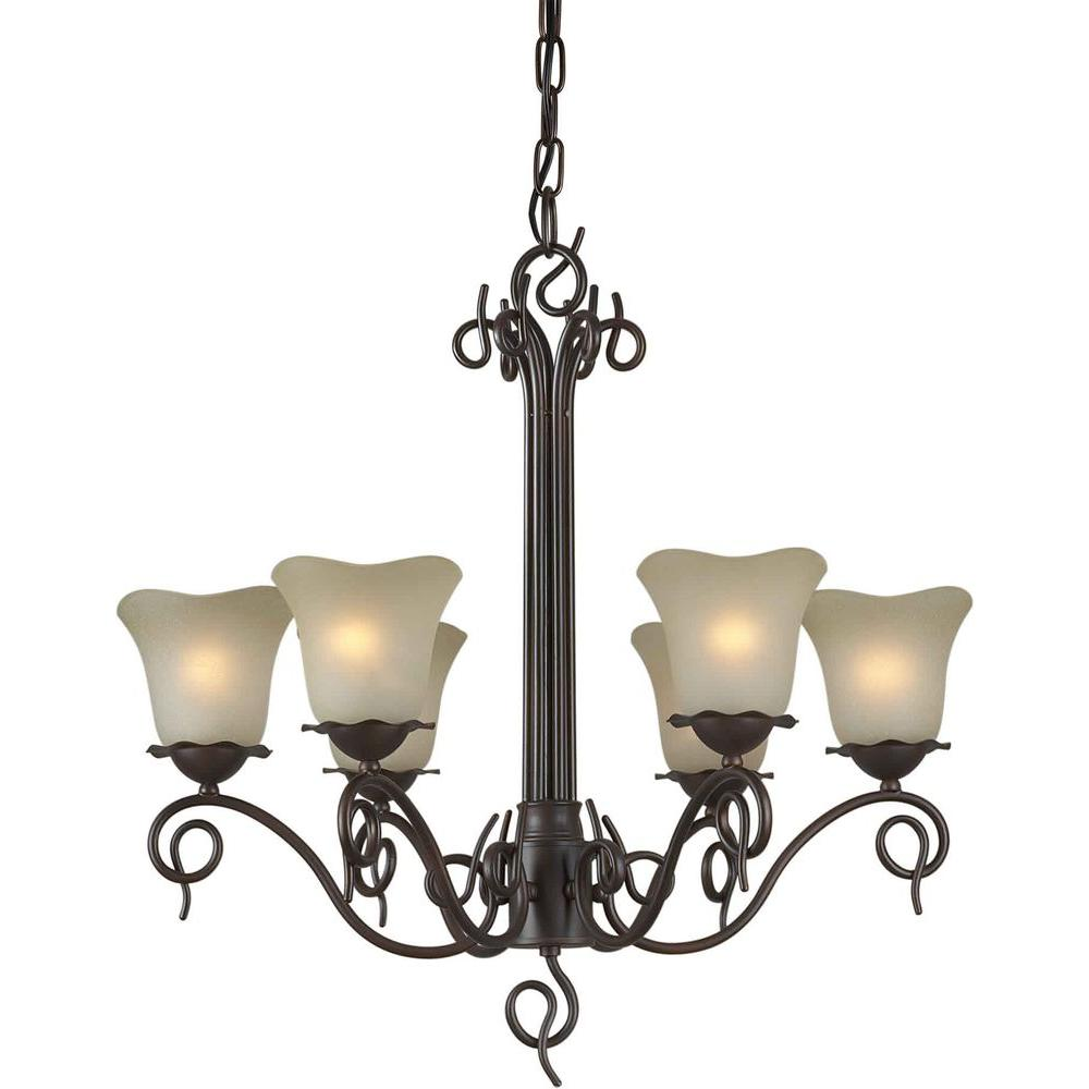 Talista 6-Light Antique Bronze Chandelier with Umber Glass Shade